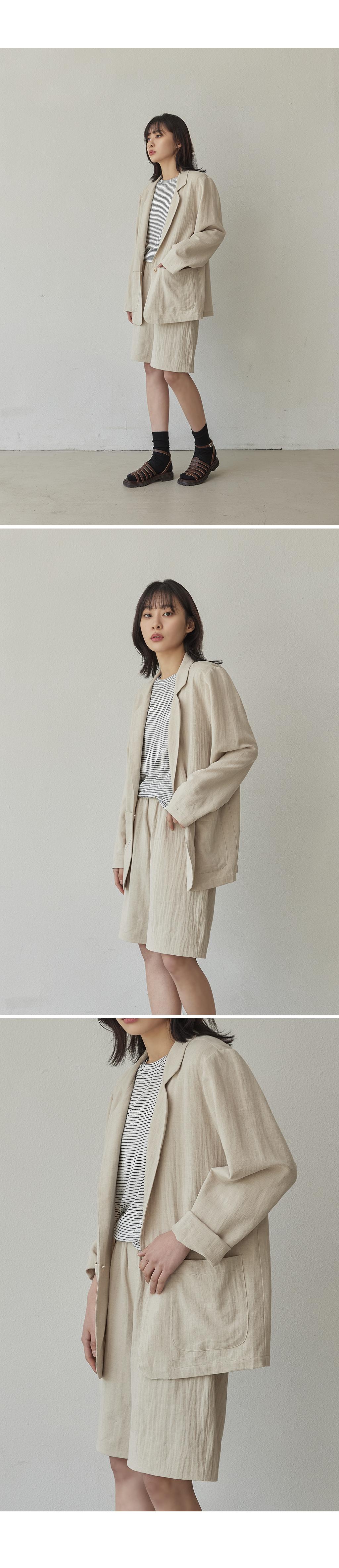 줄리아페페(JULIAPEPE) (SET) linen jacket+linen bermuda pants